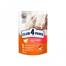 Hrana umeda Club 4 Paws Kittens Turkey in jelly 80g