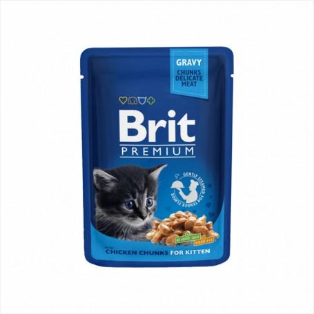 Hrana umeda Brit Premium Chicken Chunks for Kitten 100g