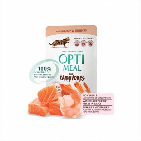 Hrana umeda Optimeal Salmon & Shrimps in sauce 85g