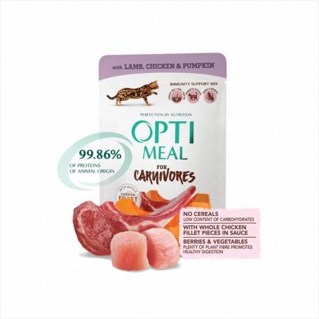 Hrana umeda Optimeal Lamb & Chicken fillet in pumpkin jelly 85g