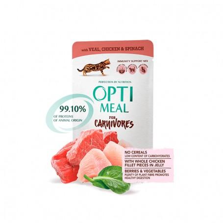 Hrana umeda Optimeal Veal, Chicken fillet & Spinach in sauce 85g
