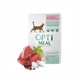 Hrana umeda Optimeal Veal in cranberry sauce 85g