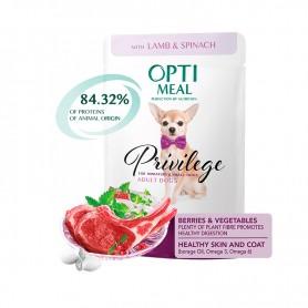Hrana umeda Optimeal Adult Lamb & Spinach in sauce 85g